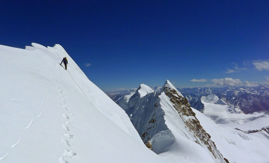 Mick Fowler approaches the summit of Gave Ding / photo credit Berghaus